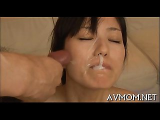 Pretty asian hottie licking dick